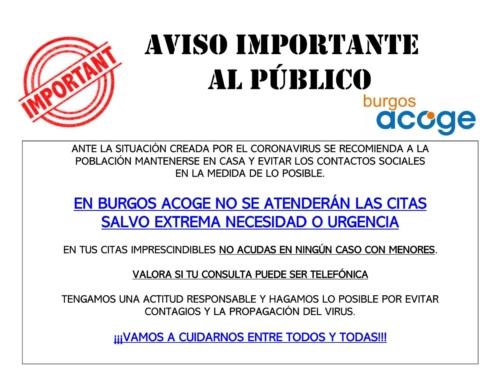 Información sobre atención al público ante situación actual por COVID-19